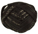 Katia Ondas Lux scarf yarn, 303 black with gold sparkle