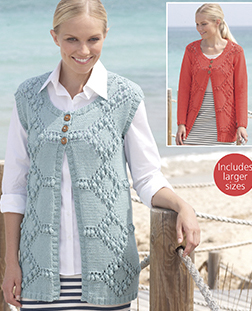 Aran jacket and waistcoat Sirdar 7754 Digital Download
