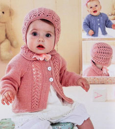 Cardigan and bonnet Sirdar 1418