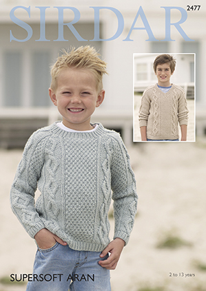 Knitting Pattern Boys Cable /& Moss Stitch Jumper age 2-13 years
