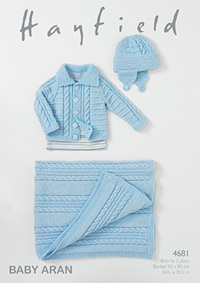 Aran jacket, helmet and blanket Hayfield 4681 Digital Version