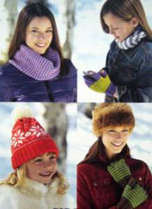 Gloves, texting gloves, snood and hat Sirdar 9629