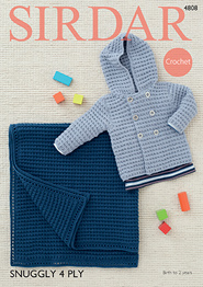 4 ply crocjet pattern boys jacket and blanket Sirdar 4808 Digital Download