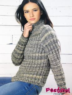 Chunky mock fishermans rib sweater Wendy 5734, digital version