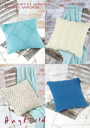 Sirdar 7269 Aran Knitting Pattern For 4 Cushion Covers