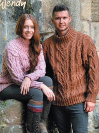 Aran sweaters with cables Wendy 5743