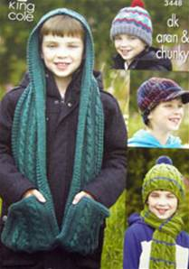 Children's hats and scarves King Cole 3448