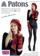 Slouchy Hat, Fingerless Gloves or Scarf knitting kit in Reds
