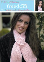 Scarf with flower crochet Twilleys 9013, digital download