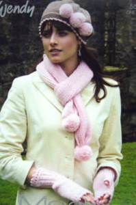 Wristwarmers, beret and scarf Wendy 5519