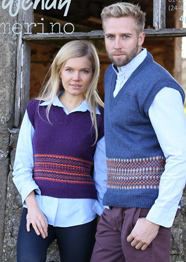 4 ply unisex slipover with fairisle border Wendy 5809 digital download
