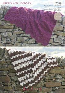 Crochet blankets Hayfield 7059