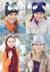 Chunky scarf, snood and hats, Sirdar 7144