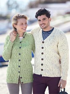 Hayfield 8101 Aran Knitting Pattern Mens Womens Cardigans