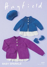 DK cardigan, beret and shoes Hayfield 4659