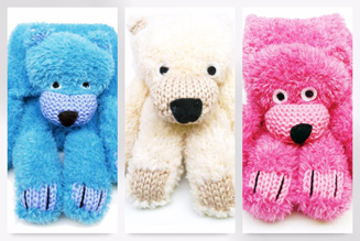 Bobby Bear scarf knitting kit