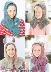 Super chunky hoods and scarves Sirdar 7167 Digital Download