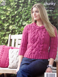 Sweater, tunic and cushion cover King Cole 3302