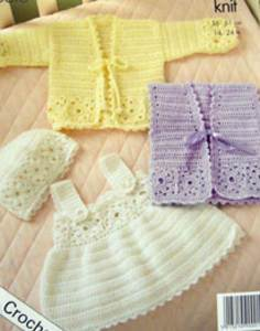 Crochet pinafore and cardigan King Cole 3251