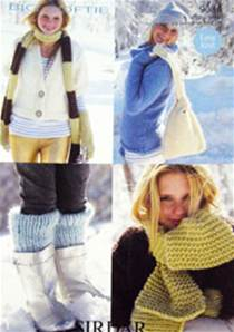 Scarf, bag, armwarmers and legwarmers Sirdar 9054