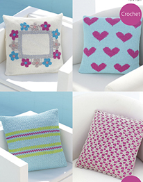 Crochet cushion covers in 4 ply Sirdar 7748 Digital Download