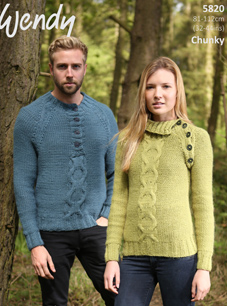 Chunky unisex cable sweaters Wendy 5820 digital download