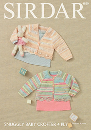 4 ply baby girls cardigans Sirdar 4820 Digital Download