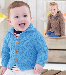Aran boy's and baby cardigans Sirdar 4900 Digital Download