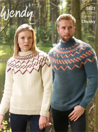 Chunky yoked fairisle unisex sweater Wendy 5821 digital download