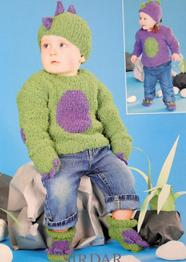 Sirdar 1497 sweater, mittens, hat