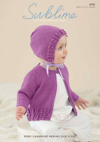 4 ply girls cardigan and bonnet Sublime 6116 Digital Version
