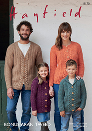 Hayfield 8170PDF pattern download for family aran cardigans