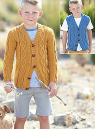 Aran cardigan and waistcoat Sirdar 2435, Digital Version