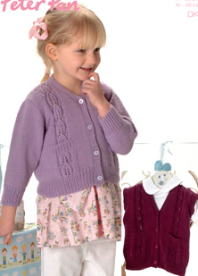 girls cardigan and gillet DK pattern Peter Pan 1126 PDF Download