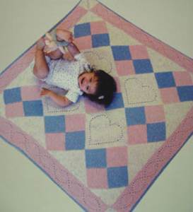 Heart quilt baby blanket knitting pattern Fiber Trends CH50