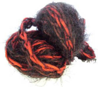 Katia Brooklyn scarf yarn, 56 reds and black