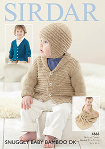 DK cardigan, helmet and blanket Sirdar 4666 Digital Version