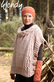 Chunky poncho, mitts and headband Wendy 5824 digital download