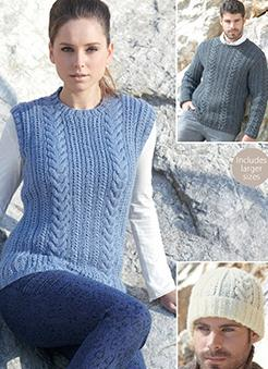Aran sweaters and hat Sirdar 7185