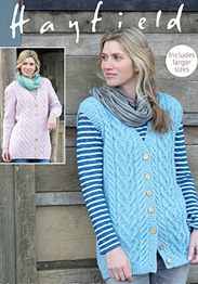 Aran longline waistcoat and jacket Hayfield 7990 Digital Download