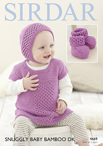 DK dress, bonnet and bootees Sirdar 4669 Digital Version