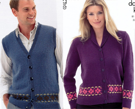 Ladies jacket and mens cardigan King Cole 3272