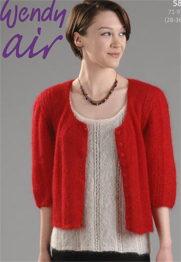 Wendy 5803 Woman Mohair Knitting Pattern Cardigan And Top