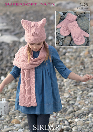 Aran hat, scarf and mittens Sirdar 2428 Digital Download