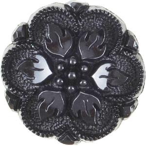 K703 Black plastic textured flower button 15mm