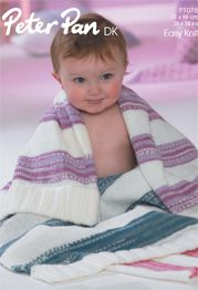 Peter Pan 1076 DK blanket with contrast shade PDF digital download