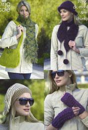 Hats, scarves, bag and wrist warmers King Cole 3299