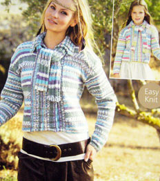 Cardigan and scarf Sirdar 9706
