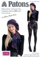 Slouchy Hat, Fingerless Gloves or Scarf knitting kit in Purples