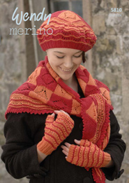 4 ply shawl, beret, handwarmers Wendy 5810 digital download
